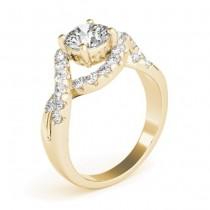Diamond Twisted Band Engagement Ring Setting 18K Yellow Gold (0.98ct)