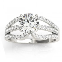 Diamond Triple Row Engagement Ring Setting 14k White Gold (0.52ct)