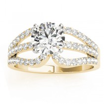 Diamond Triple Row Engagement Ring Setting 14k Yellow Gold (0.52ct)