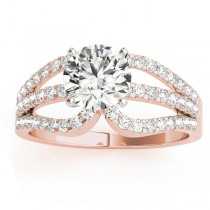 Diamond Triple Row Engagement Ring Setting 18k Rose Gold (0.52ct)