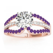 Diamond & Amethyst Triple Row Engagement Ring 14k Rose Gold (0.52ct)