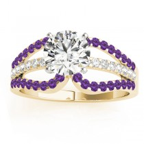 Diamond & Amethyst Triple Row Engagement Ring 14k Yellow Gold (0.52ct)