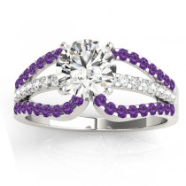 Diamond & Amethyst Triple Row Engagement Ring 18k White Gold (0.52ct)