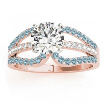 Diamond & Aquamarine Triple Row Engagement Ring 14k Rose Gold (0.52ct)
