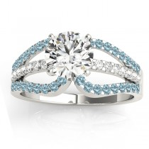 Diamond & Aquamarine Triple Row Engagement Ring 14k White Gold (0.52ct)