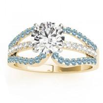 Diamond & Aquamarine Triple Row Engagement Ring 14k Yellow Gold (0.52ct)