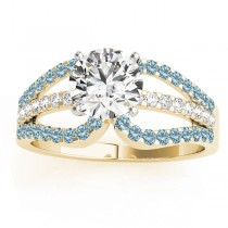 Diamond & Aquamarine Triple Row Engagement Ring 18k Yellow Gold (0.52ct)