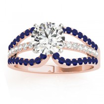 Diamond & Blue Sapphire Triple Row Engagement Ring 14k Rose Gold (0.52ct)