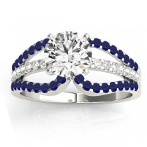 Diamond & Blue Sapphire Triple Row Engagement Ring 14k White Gold(0.52ct)