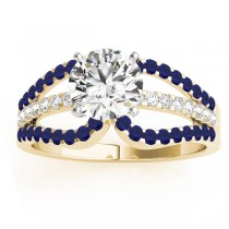 Diamond & Blue Sapphire Triple Row Engagement Ring 14k Yellow Gold (0.52ct)