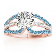 Diamond & Blue Topaz Triple Row Engagement Ring 18k Rose Gold (0.52)