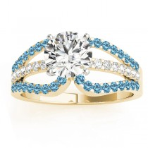 Diamond & Blue Topaz Triple Row Engagement Ring 18k Yellow Gold (0.52ct)