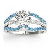 Diamond & Blue Topaz Triple Row Engagement Ring Palladium (0.52ct)