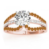 Diamond & Citrine Triple Row Engagement Ring 14k Rose Gold (0.52ct)