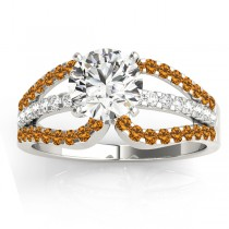 Diamond & Citrine Triple Row Engagement Ring 14k White Gold(0.52ct)
