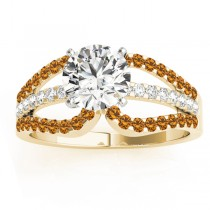 Diamond & Citrine Triple Row Engagement Ring 14k Yellow Gold (0.52ct)