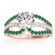 Diamond & Emerald Triple Row Engagement Ring 14k Rose Gold (0.52ct)