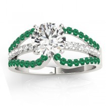 Diamond & Emerald Triple Row Engagement Ring 14k White Gold(0.52ct)