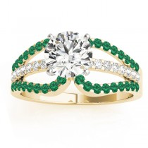 Diamond & Emerald Triple Row Engagement Ring 14k Yellow Gold (0.52ct)