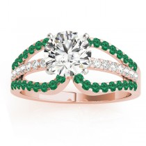 Diamond & Emerald Triple Row Engagement Ring 18k Rose Gold (0.52)