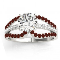 Diamond & Garnet Triple Row Engagement Ring 14k White Gold(0.52ct)