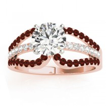 Diamond & Garnet Triple Row Engagement Ring 18k Rose Gold (0.52)