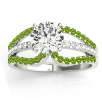 Diamond & Peridot Triple Row Engagement Ring 14k White Gold(0.52ct)