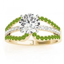 Diamond & Peridot Triple Row Engagement Ring 14k Yellow Gold (0.52ct)