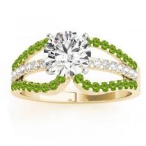 Diamond & Peridot Triple Row Engagement Ring 14k Yellow Gold (0.52ct)