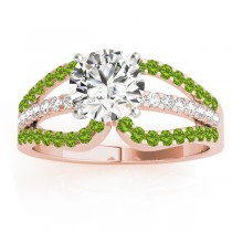 Diamond & Peridot Triple Row Engagement Ring 18k Rose Gold (0.52)