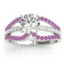 Diamond & Pink Sapphire Triple Row Engagement Ring 18k White Gold (0.52ct)