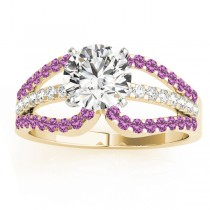 Diamond & Pink Sapphire Triple Row Engagement Ring 18k Yellow Gold (0.52ct)