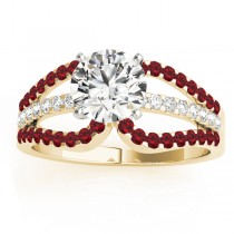 Diamond & Ruby Triple Row Engagement Ring 14k Yellow Gold (0.52ct)
