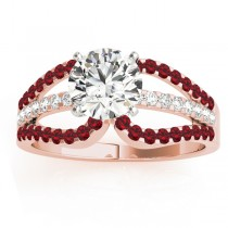 Diamond & Ruby Triple Row Engagement Ring 18k Rose Gold (0.52)