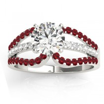 Diamond & Ruby Triple Row Engagement Ring 18k White Gold (0.52ct)