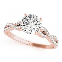 Diamond Accented Twisted Band Engagement Ring 18k Rose Gold (1.50ct)