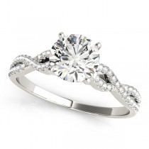 Diamond Accented Twisted Band Engagement Ring 14k White Gold (0.75ct)