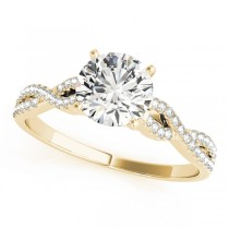 Diamond Accented Twisted Band Engagement Ring 18k Yellow Gold (0.75ct)