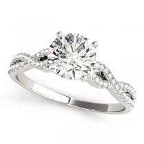 Diamond Swirl Sidestone Accented Engagement Ring Platinum (0.75ct)
