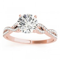 Diamond Twist Engagement Ring Setting 14k Rose Gold (0.22ct)