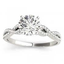 Diamond Twist Engagement Ring Setting 14k White Gold (0.22ct)