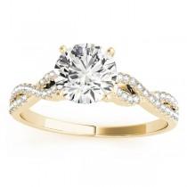 Diamond Swirl Sidestone Accented Engagement Ring Setting 18k Yellow Gold (0.22ct)