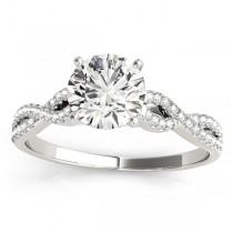 Diamond Swirl Sidestone Accented Engagement Ring Setting Platinum (0.22ct)