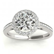 Diamond Halo Butterfly Engagement Ring 18K White Gold (0.26ct)