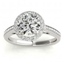 Diamond Halo Euro Shank Engagement Ring 18k White Gold 0.26ct