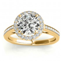 Diamond Halo Euro Shank Engagement Ring 18k Yellow Gold 0.26ct