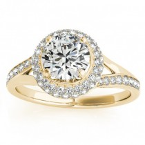Diamond Split Shank Halo Engagement Ring 14k Yellow Gold (0.45ct)