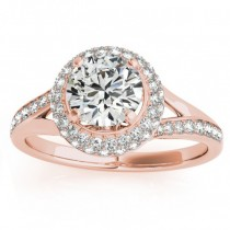 Diamond Split Shank Halo Engagement Ring 18k Rose Gold (0.45ct)