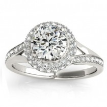 Diamond Split Shank Halo Engagement Ring Palladium (0.45ct)