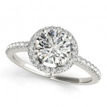 Round Diamond Halo Engagement Ring 14K White Gold (0.83ct)